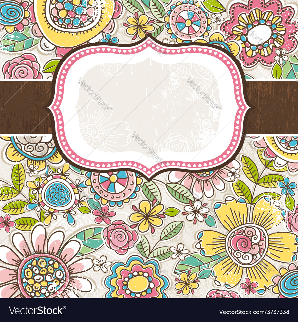 Label on background with spring flowers vector | Price: 1 Credit (USD $1)