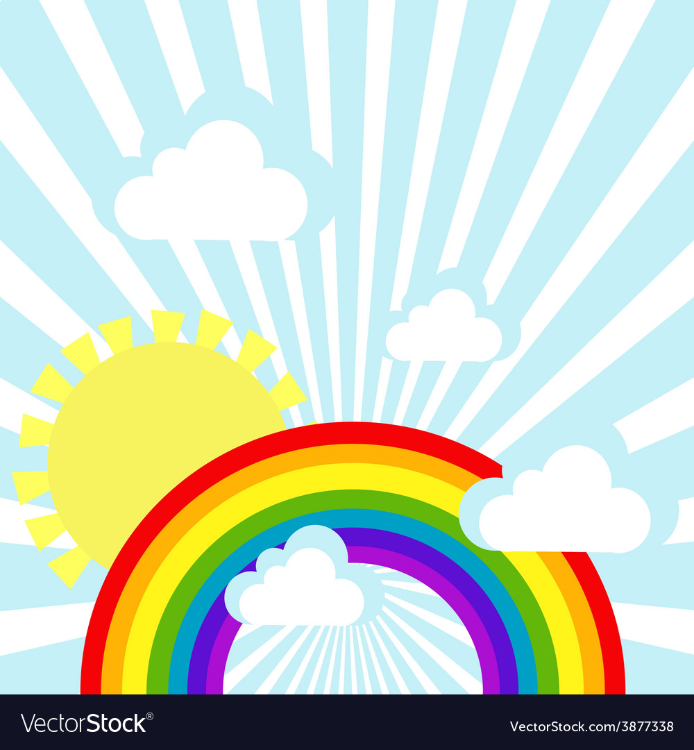 Sky background with clouds sun and rainbow vector | Price: 1 Credit (USD $1)
