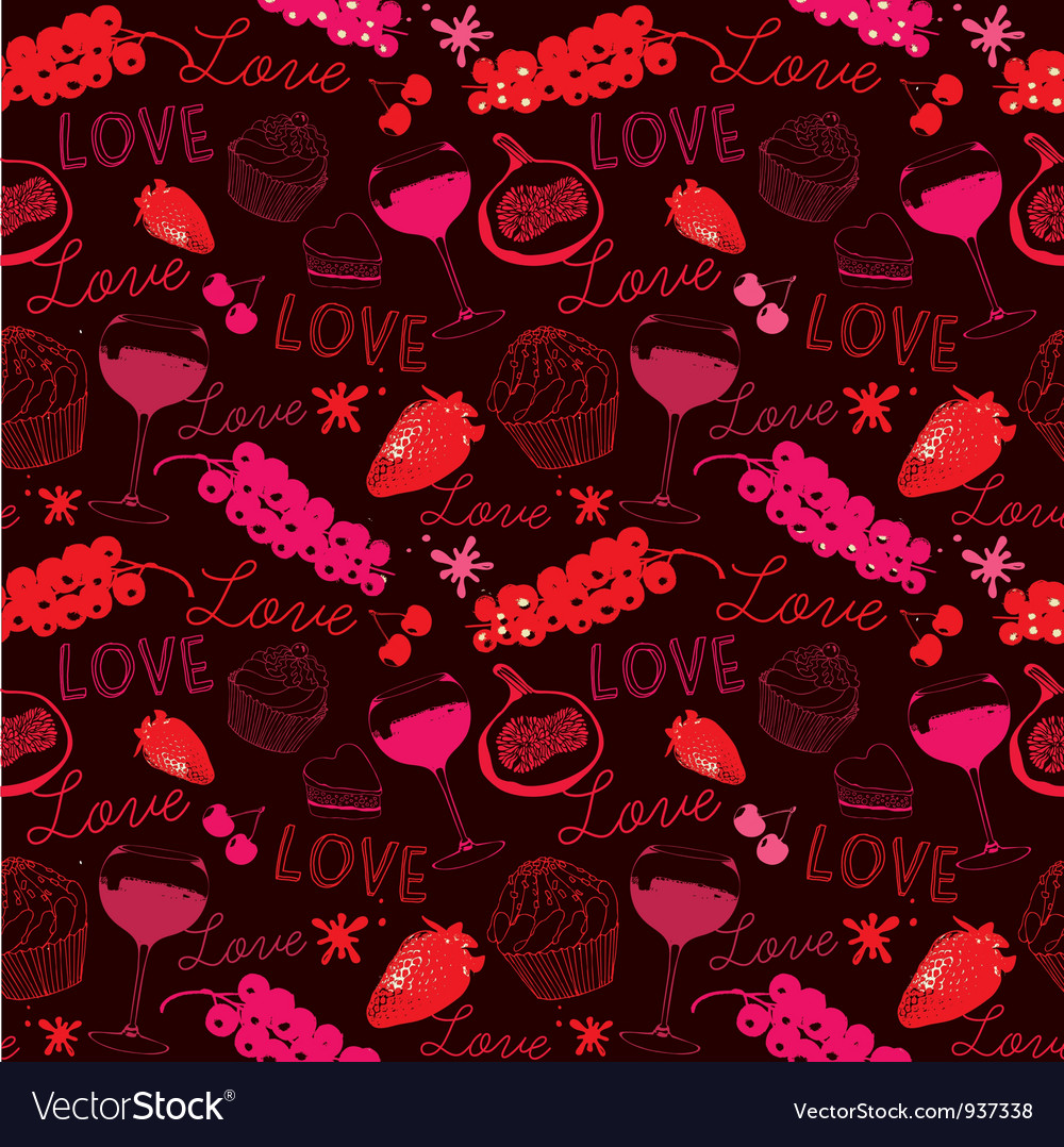 Vintage love food pattern vector | Price: 1 Credit (USD $1)