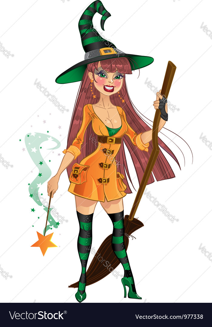 Young witch with cool magic wand and broom vector | Price: 3 Credit (USD $3)