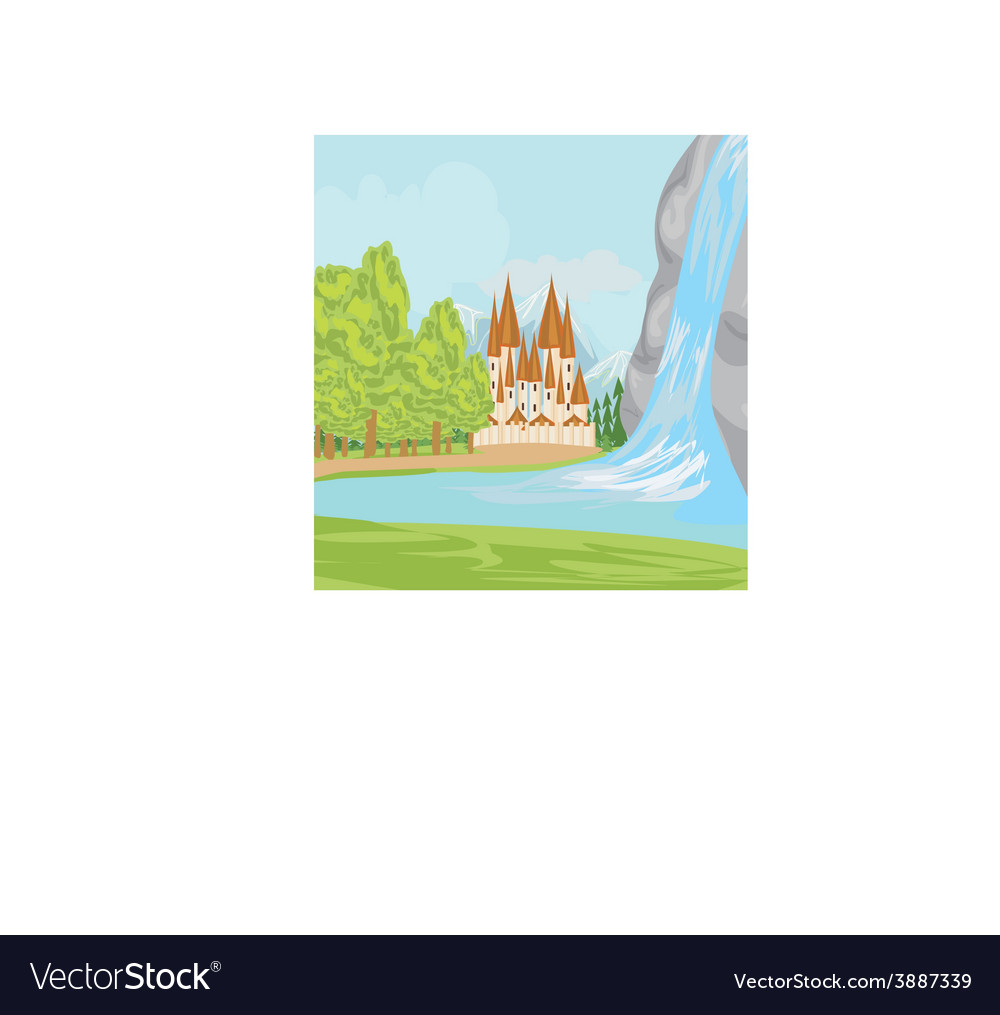 Beautiful landscape with a castle on the lake vector | Price: 1 Credit (USD $1)
