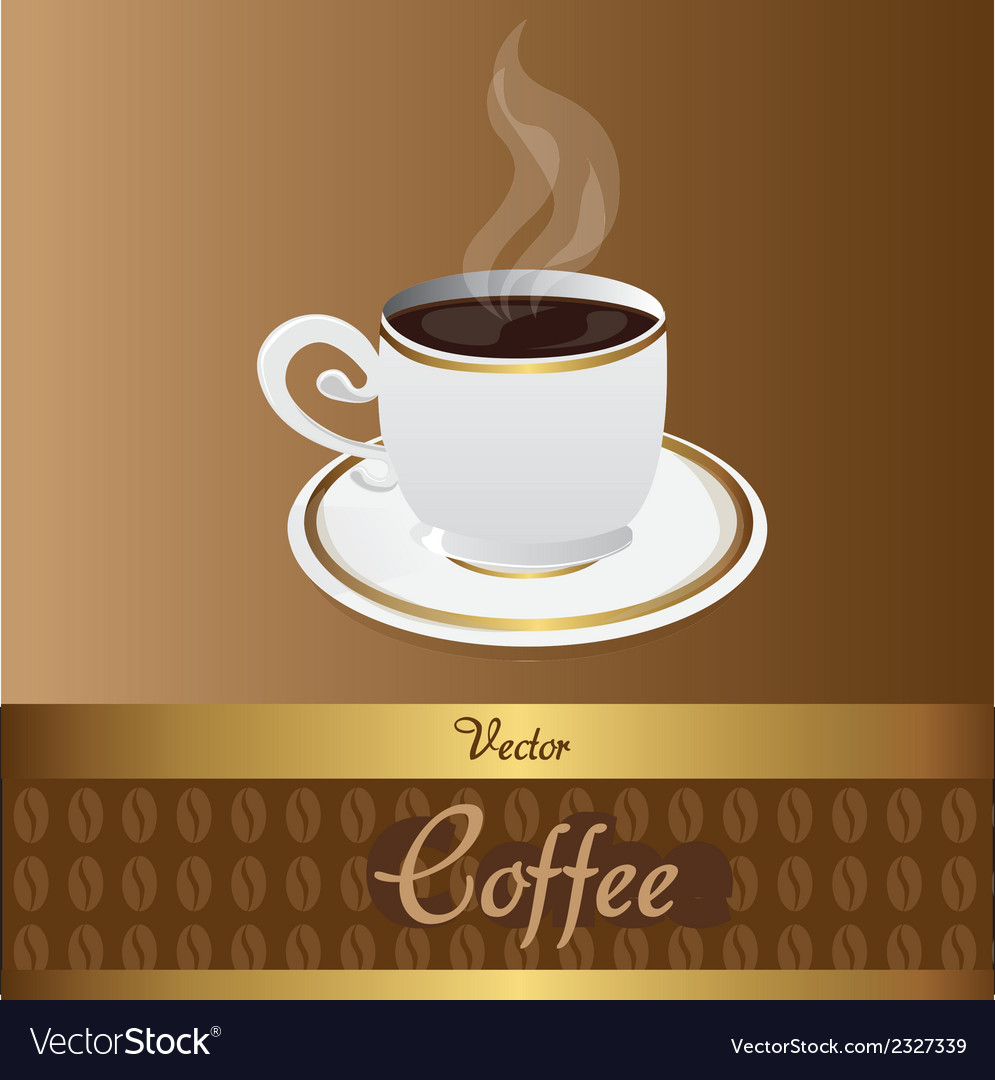 Coffee cup with coffee beans background brown vector | Price: 1 Credit (USD $1)