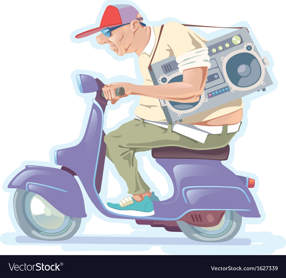 Fat man on the scooter vector | Price: 1 Credit (USD $1)