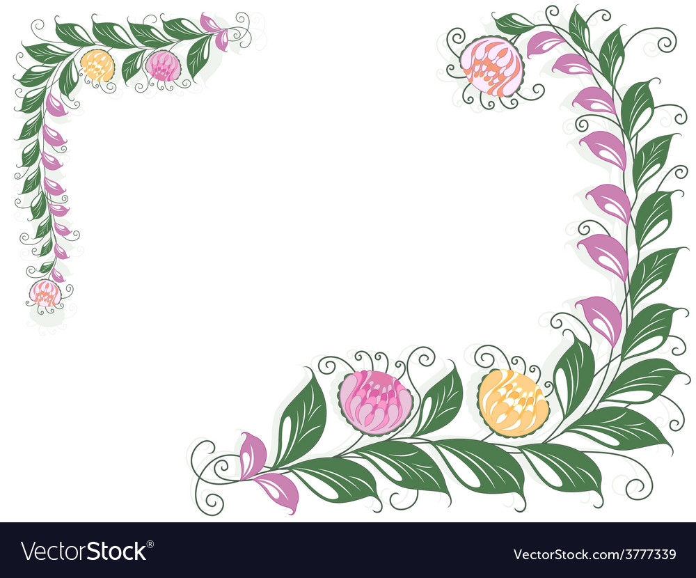 Floral swirl postcard with flowering liana vector | Price: 1 Credit (USD $1)