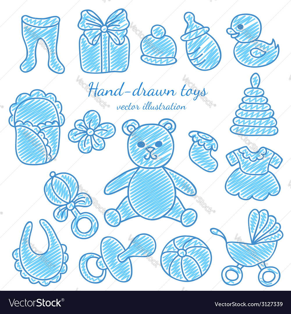 Hand-drawn baby icons set vector | Price: 1 Credit (USD $1)