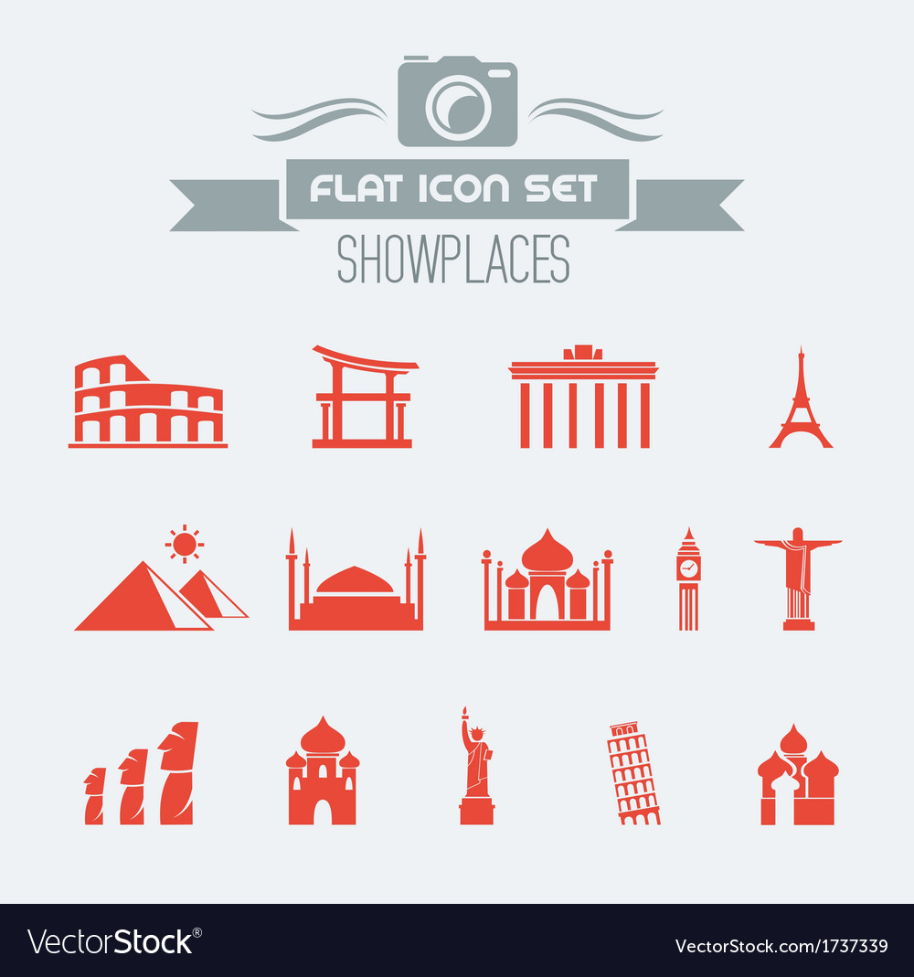 Landmarks flat icon set vector | Price: 1 Credit (USD $1)
