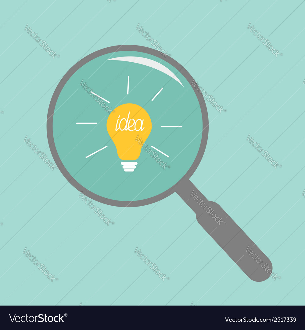 Magnifier and light bulb idea concept flat design vector | Price: 1 Credit (USD $1)