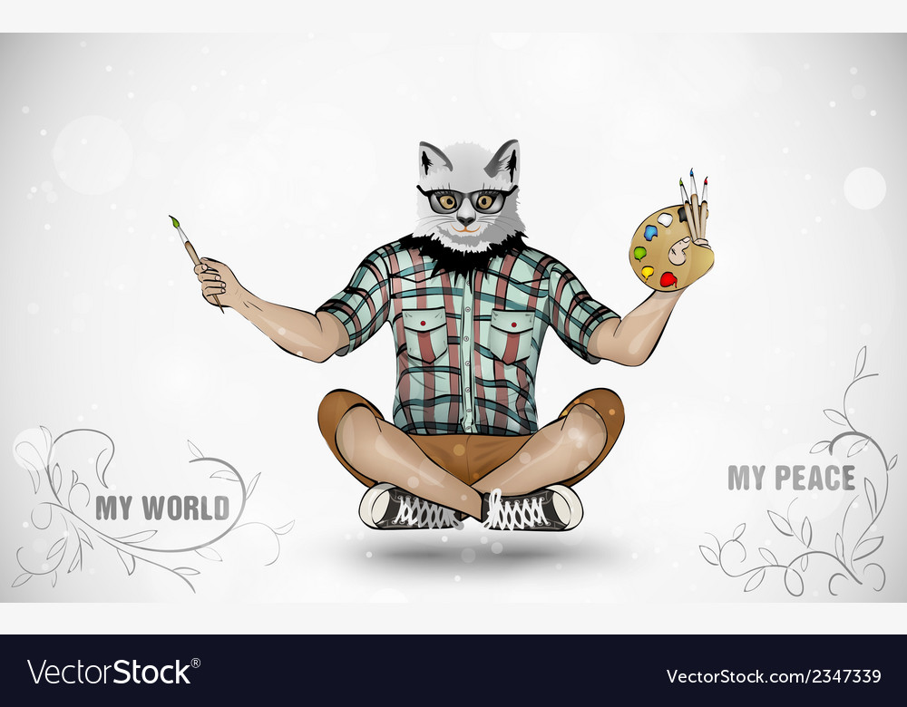 The man with the head of a cat and paints vector | Price: 1 Credit (USD $1)