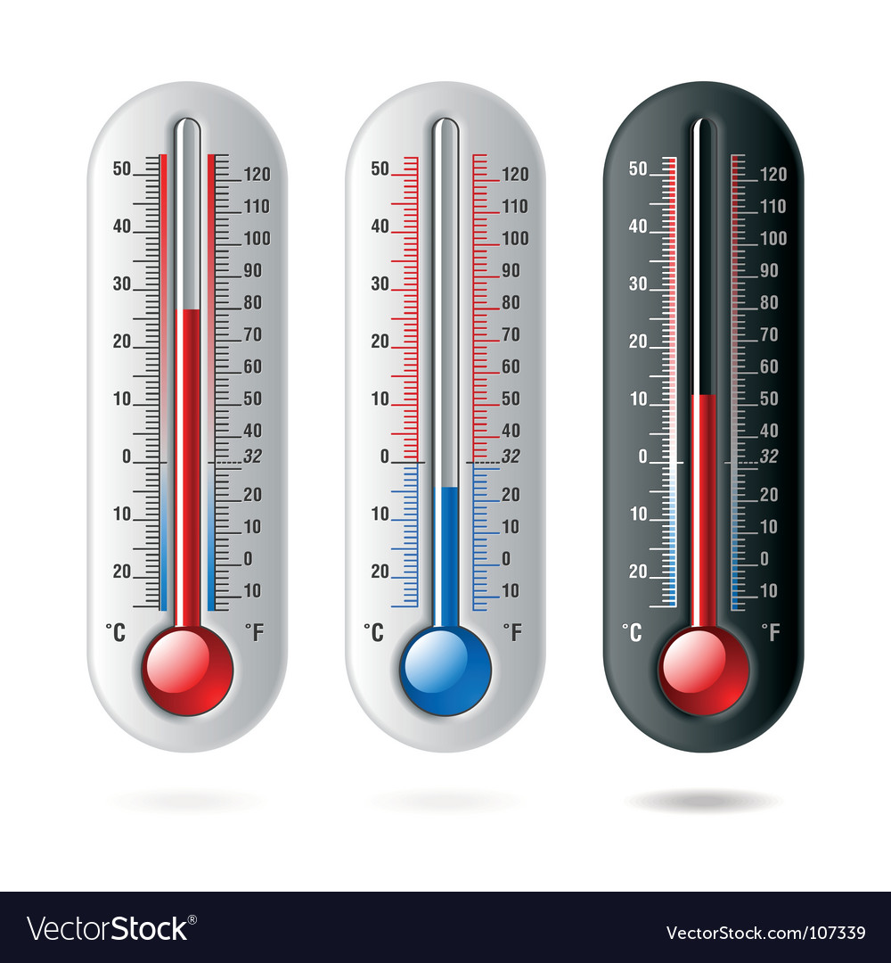 Thermometers celsius and fahrenheit vector | Price: 1 Credit (USD $1)