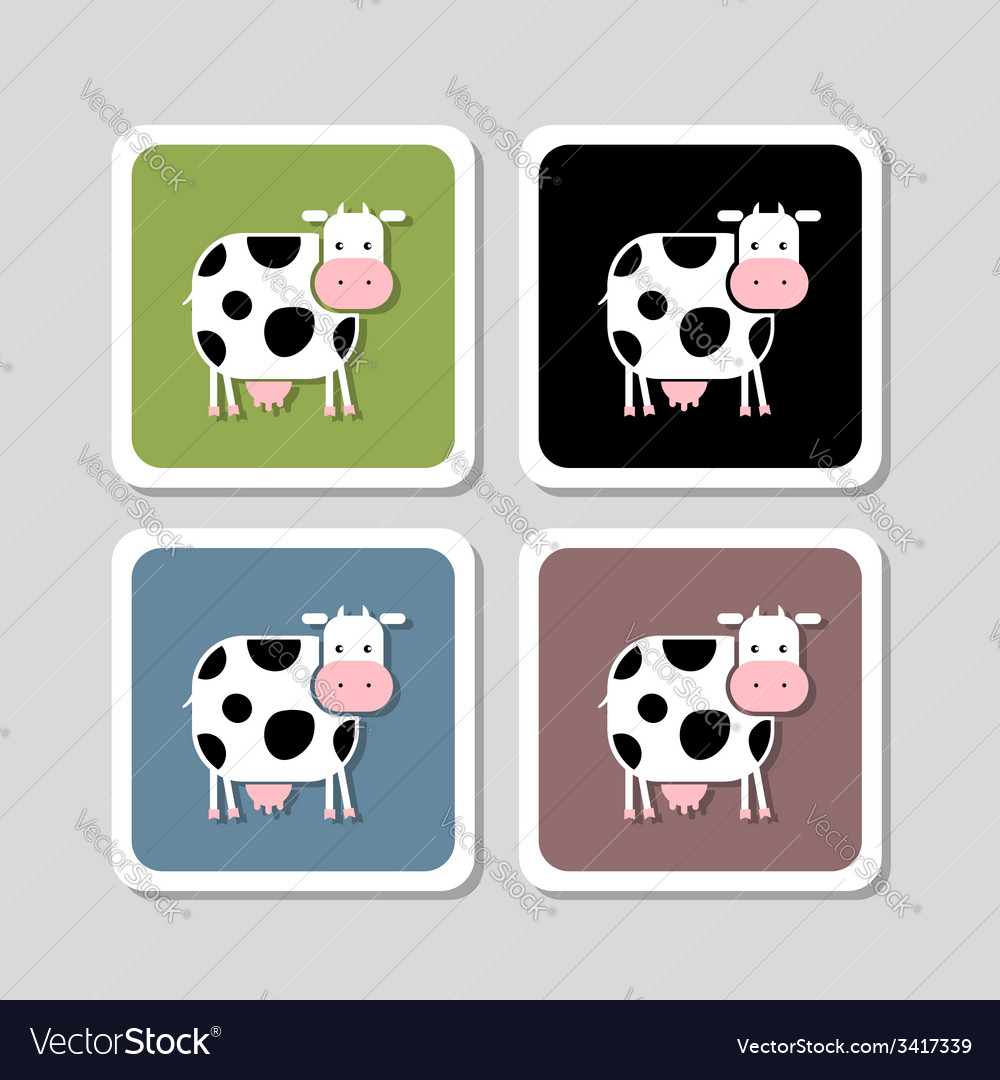 Stickers with funny cow for your design vector | Price: 1 Credit (USD $1)