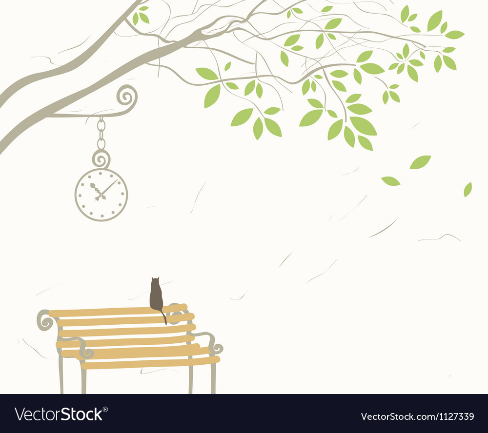 Tree and cat vector | Price: 1 Credit (USD $1)