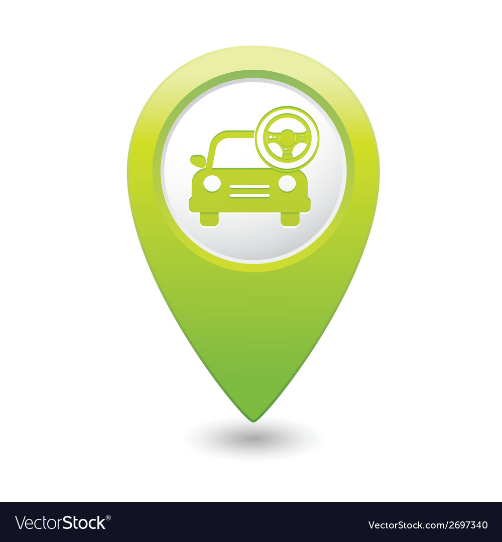 Car with rudder icon map pointer green vector | Price: 1 Credit (USD $1)