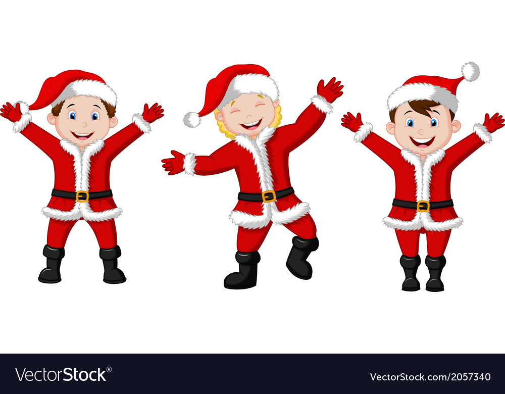 Happy children cartoon in santa costume vector | Price: 1 Credit (USD $1)