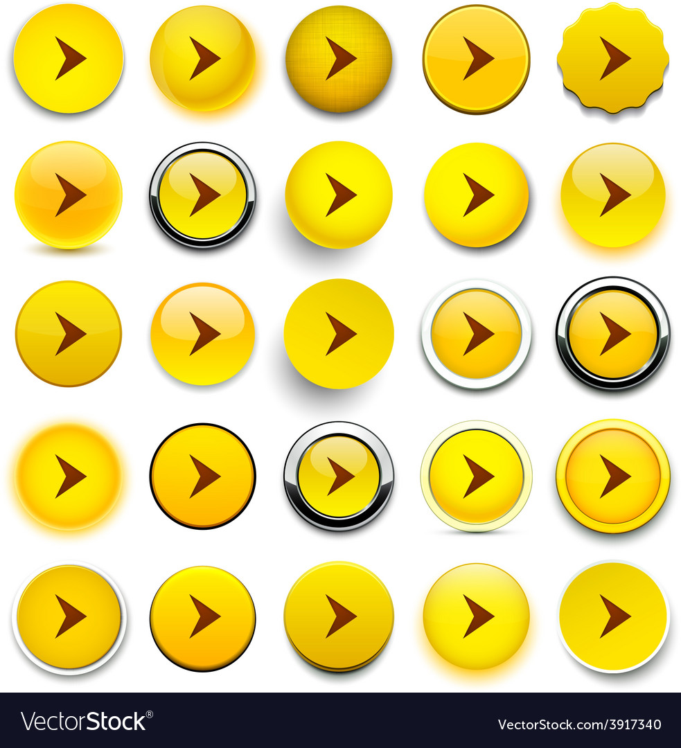 Round yellow arrow icons vector | Price: 1 Credit (USD $1)
