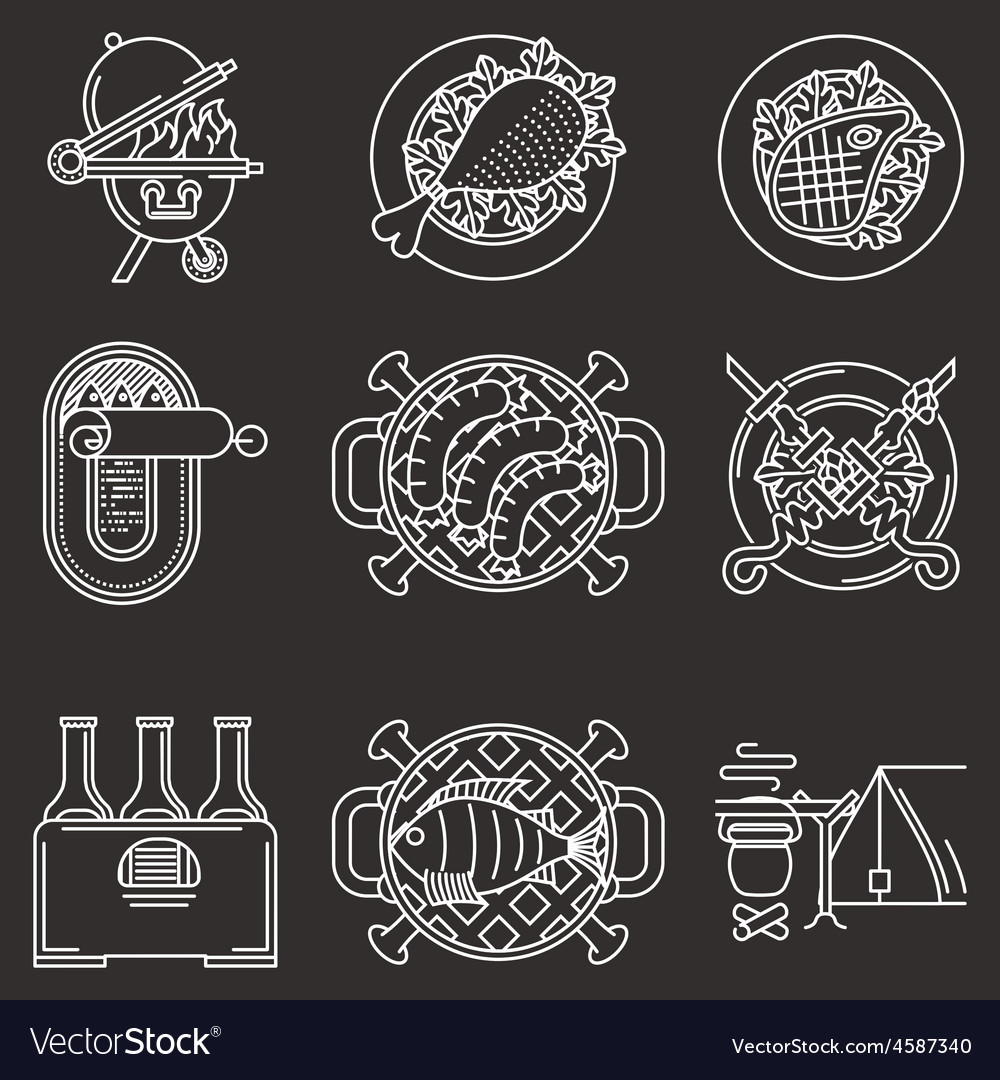 White line icons for picnic vector