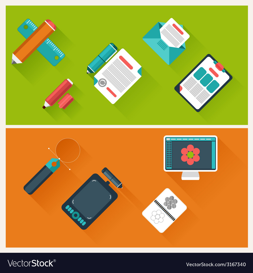 Workplace with office supplies digital devices vector | Price: 1 Credit (USD $1)