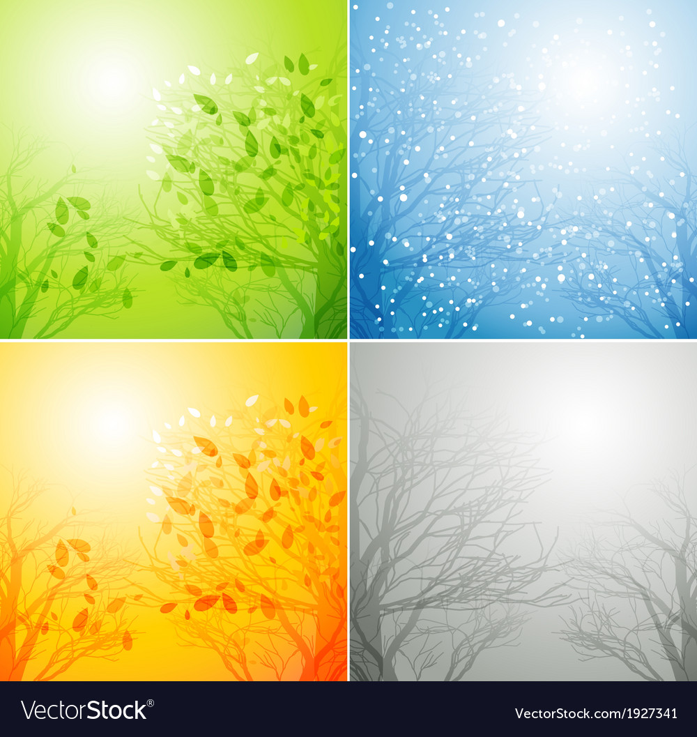 A tree in four different seasons vector | Price: 1 Credit (USD $1)