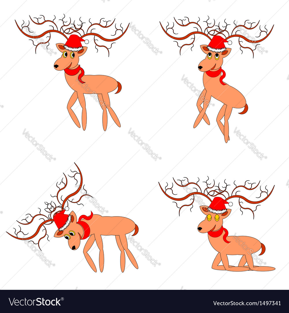 Funny christmas deers on a white background vector | Price: 1 Credit (USD $1)