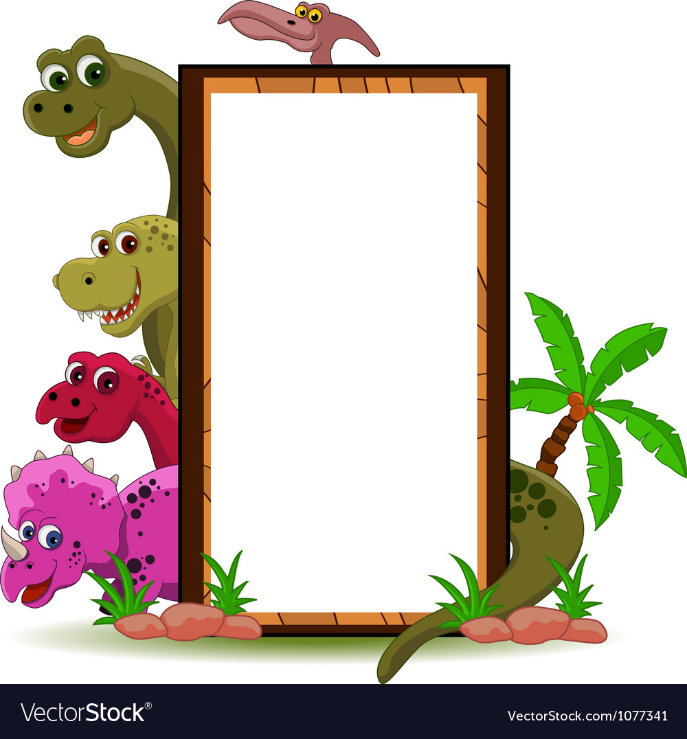 Funny dinosaur with blank sign vector | Price: 3 Credit (USD $3)