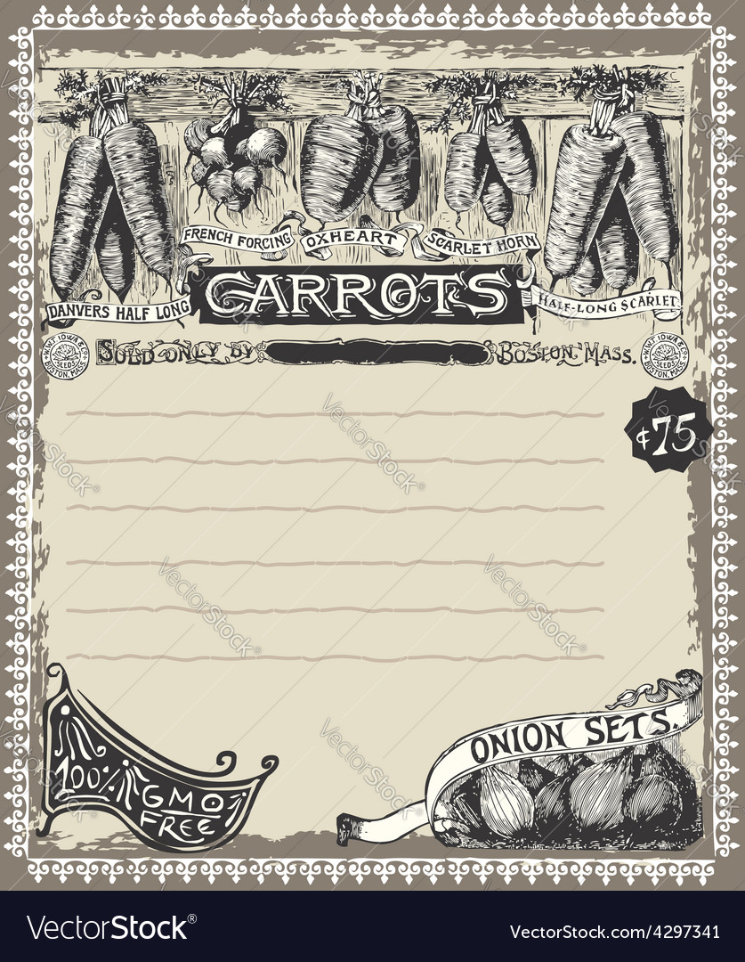 Greengrocer - vintage carrots advertising vector | Price: 3 Credit (USD $3)