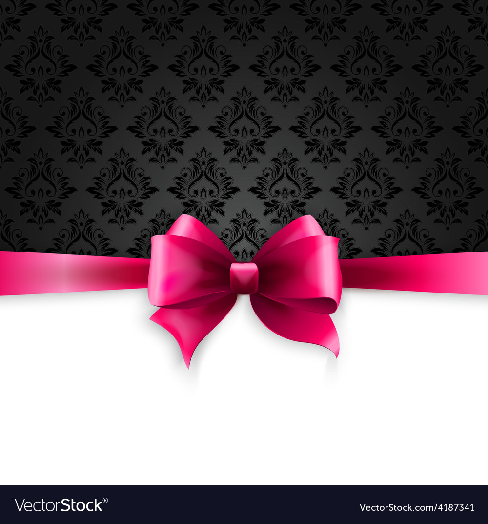 Invitation card with pink holiday ribbon on vector   Price: 3 Credit (USD $3)