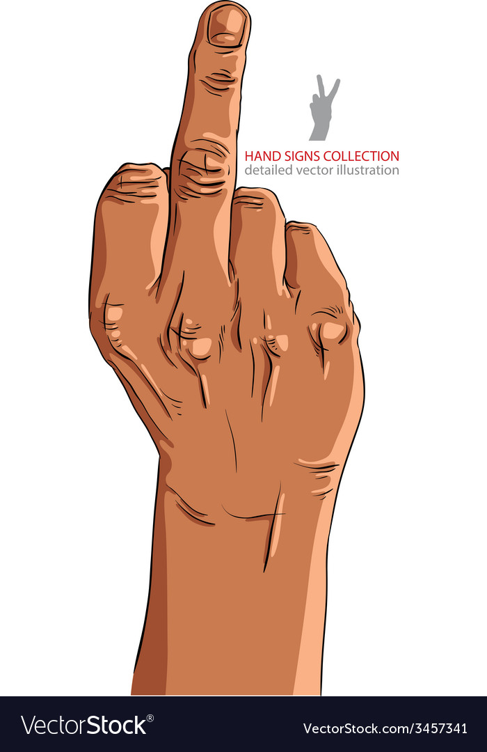 Middle finger hand sign african ethnicity detailed vector | Price: 1 Credit (USD $1)