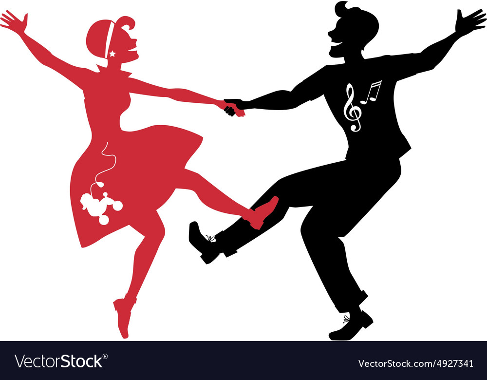 Rockabilly couple dancing silhouette vector