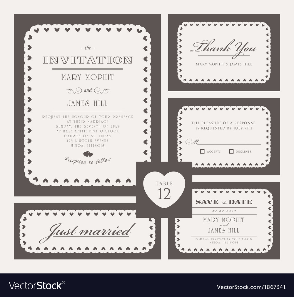 Set classic wedding invitations vector | Price: 1 Credit (USD $1)