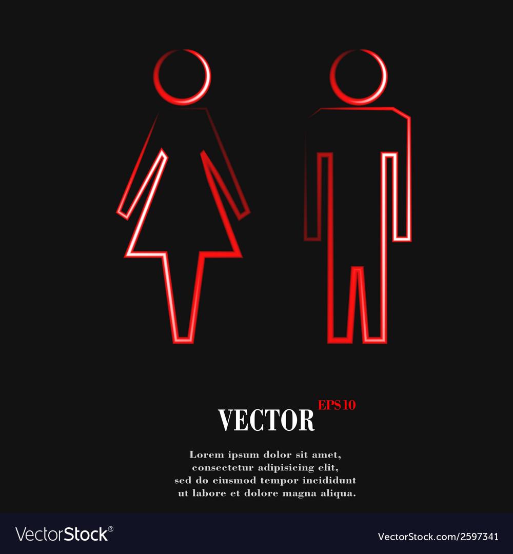 Suluet men women flat modern web button and space vector | Price: 1 Credit (USD $1)