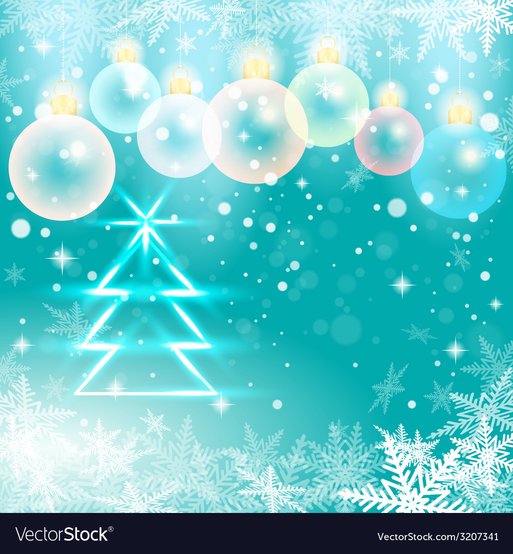 Winter holiday of christmas balls and fir tree vector | Price: 1 Credit (USD $1)