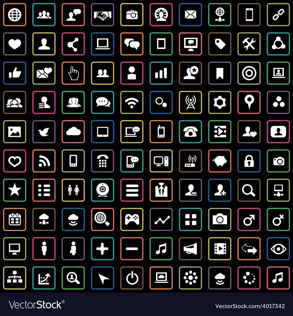 100 social media icons vector | Price: 1 Credit (USD $1)