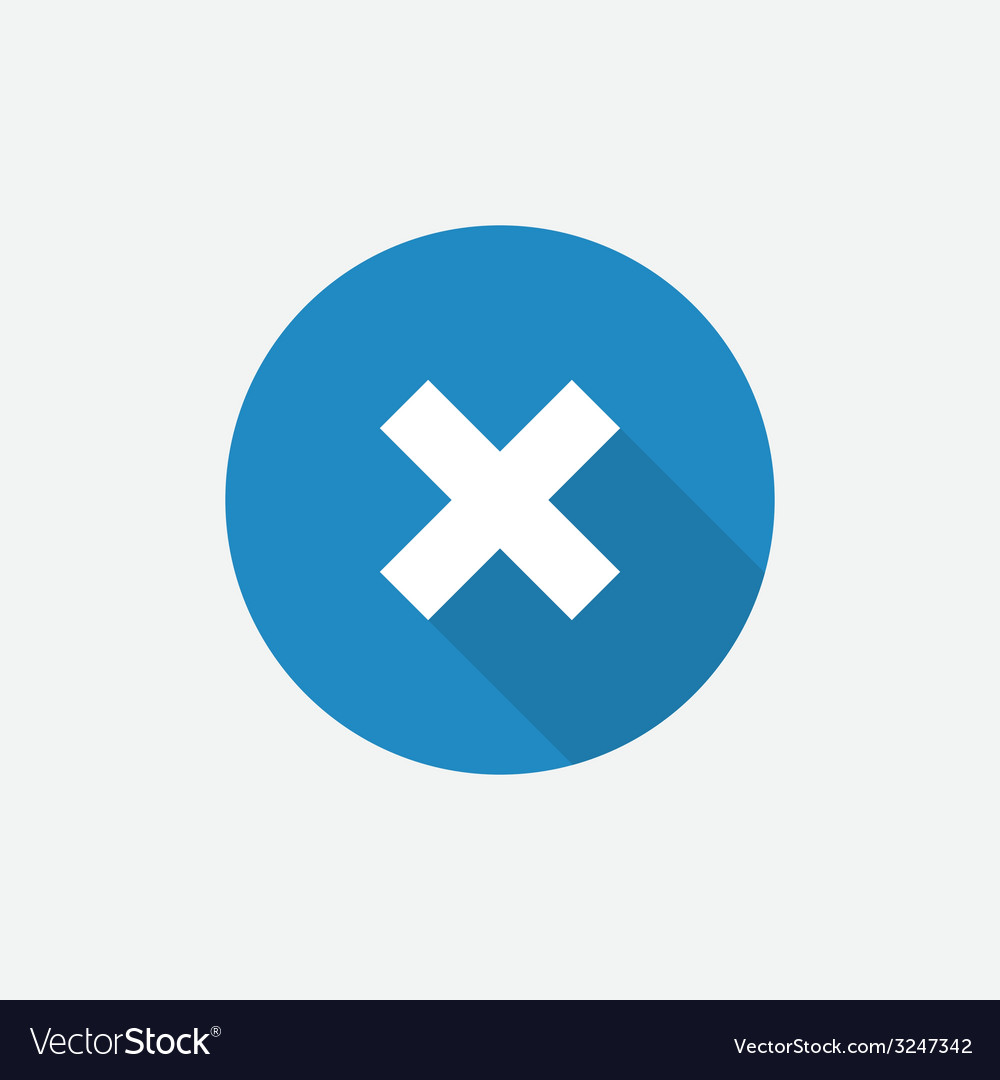 Close flat blue simple icon with long shadow vector | Price: 1 Credit (USD $1)
