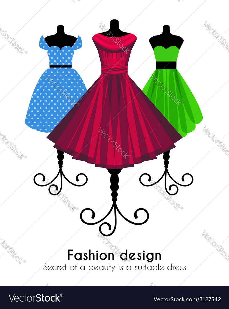 Colorful dresses on the mannequins background vector | Price: 1 Credit (USD $1)