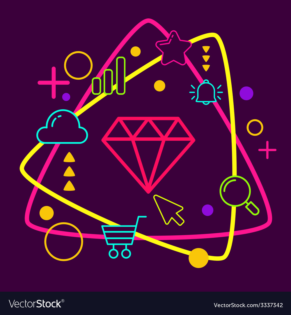 Diamond on abstract colorful geometric dark vector | Price: 3 Credit (USD $3)