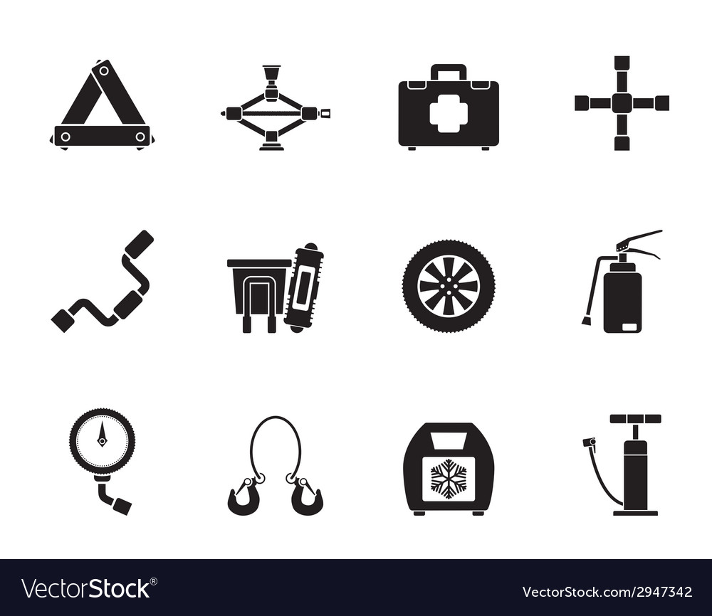 Silhouette car and transportation equipment icons vector | Price: 1 Credit (USD $1)