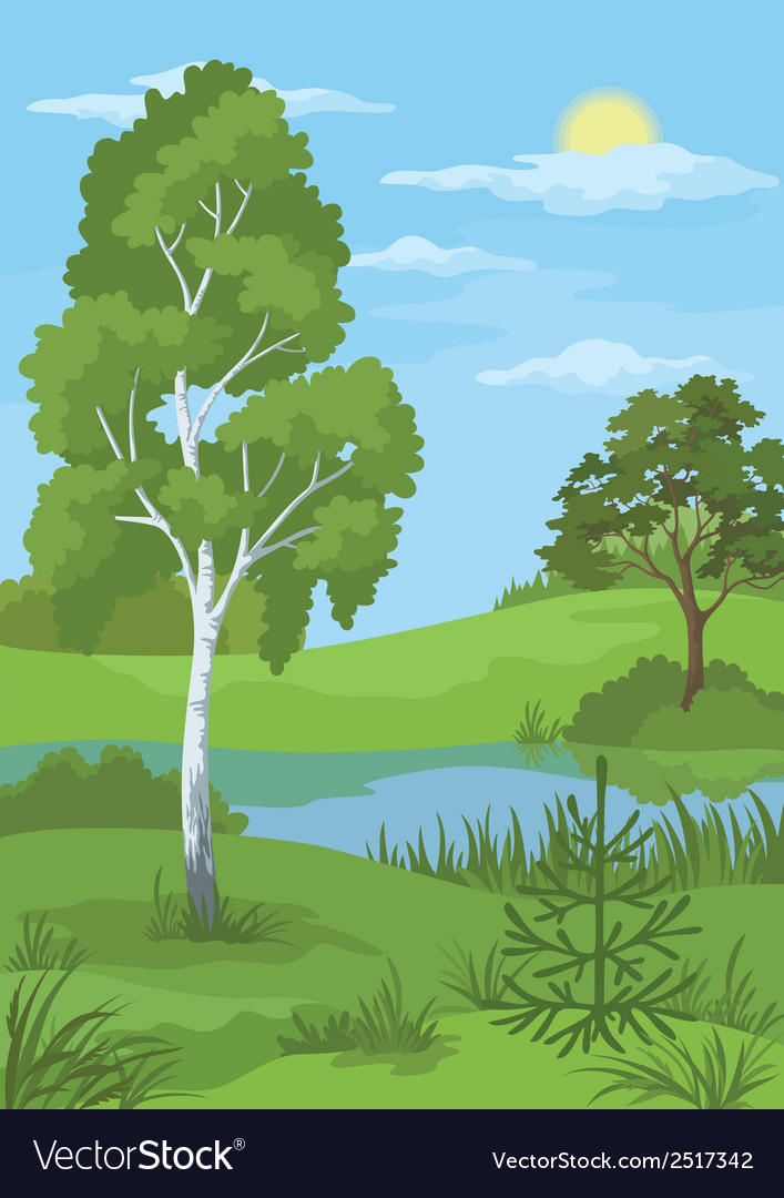 Summer landscape with trees and river vector | Price: 3 Credit (USD $3)