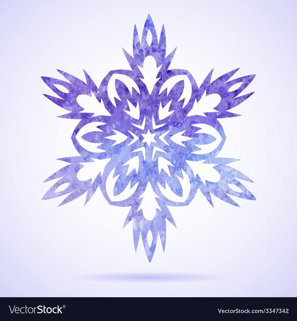 Watercolor blue painted christmas snowflake vector | Price: 1 Credit (USD $1)
