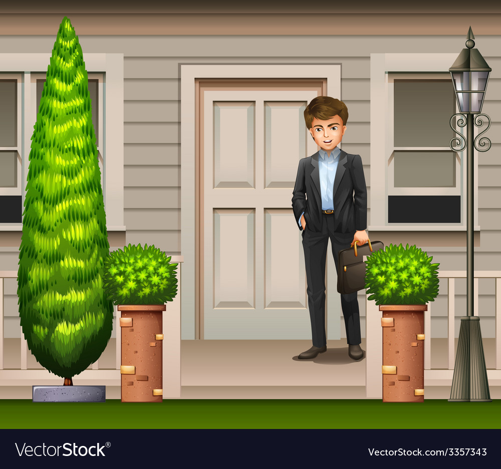 A man in front of their house vector | Price: 3 Credit (USD $3)