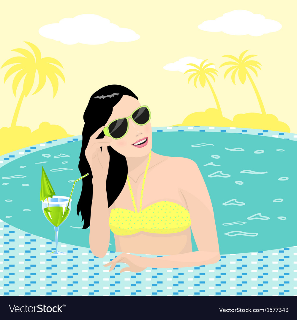 Girl in pool vector | Price: 1 Credit (USD $1)