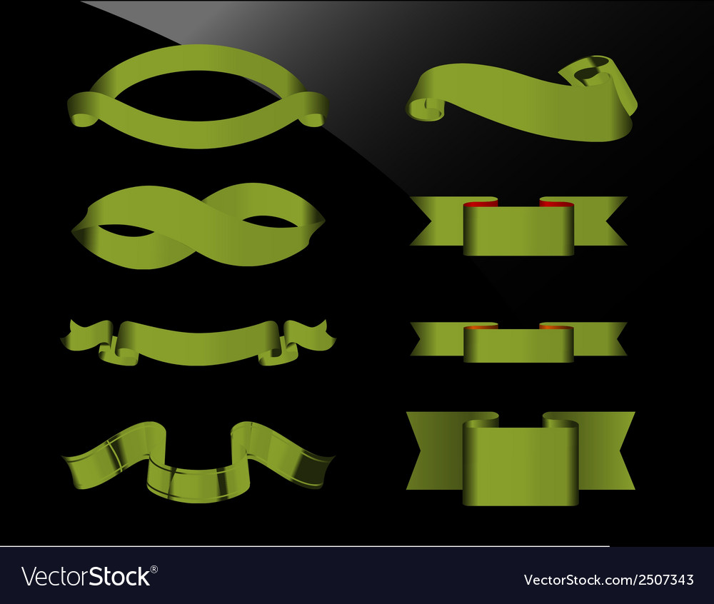 Green ribbons vector | Price: 1 Credit (USD $1)