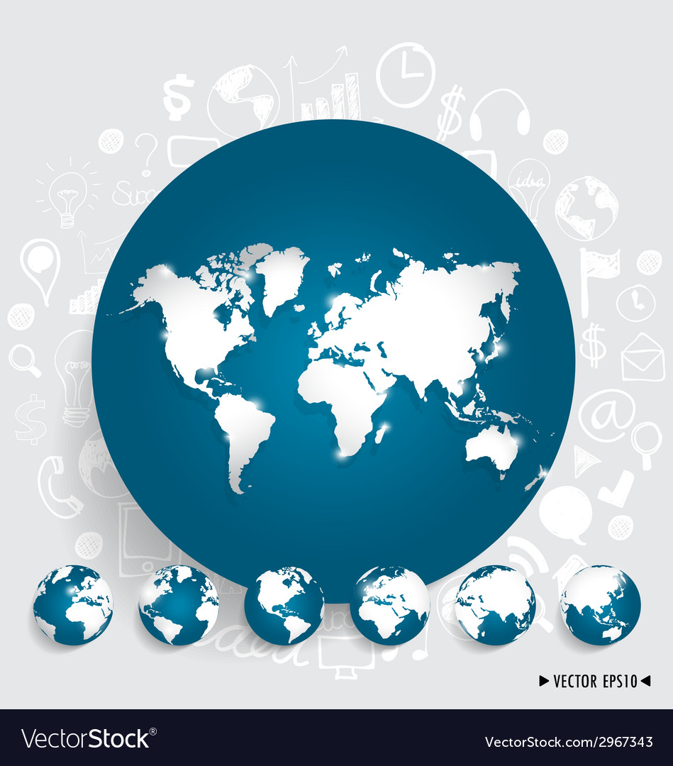 Modern world map and globe with application icon vector | Price: 1 Credit (USD $1)