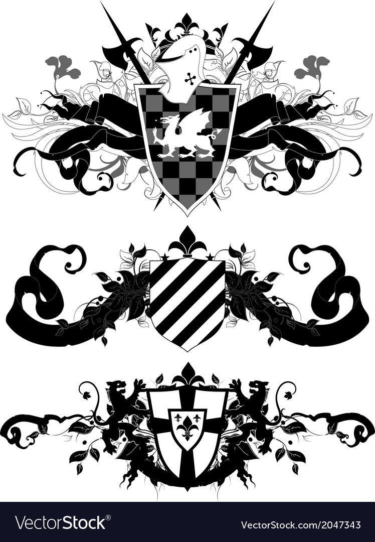 Set of ornamental heraldic shields vector | Price: 1 Credit (USD $1)