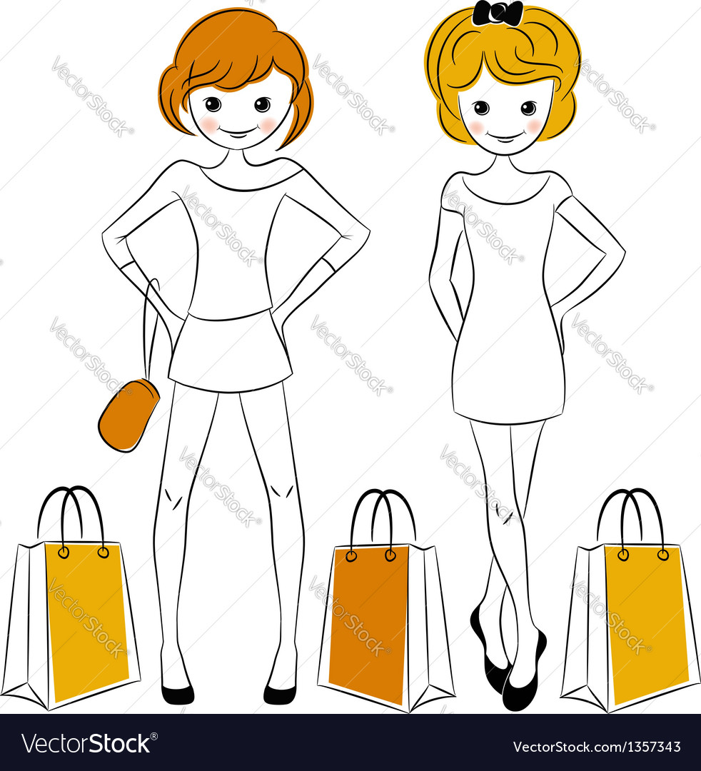 Shopping girls with sale bags vector | Price:  Credit (USD $)