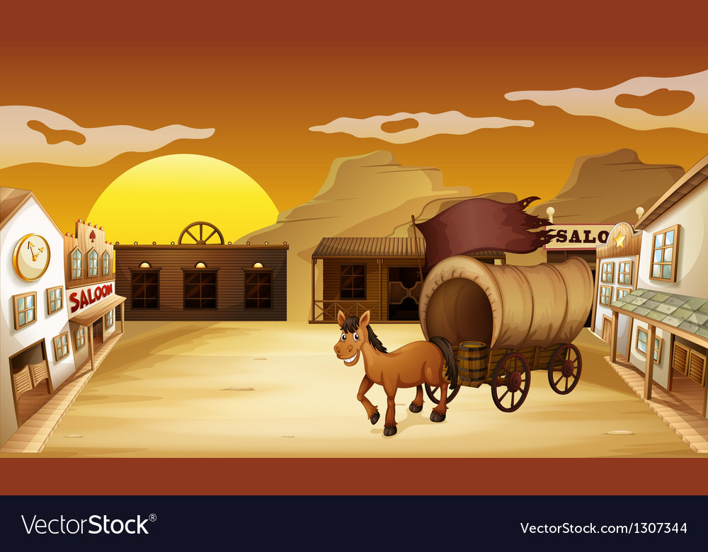 A carriage outside the saloon bar vector | Price: 1 Credit (USD $1)