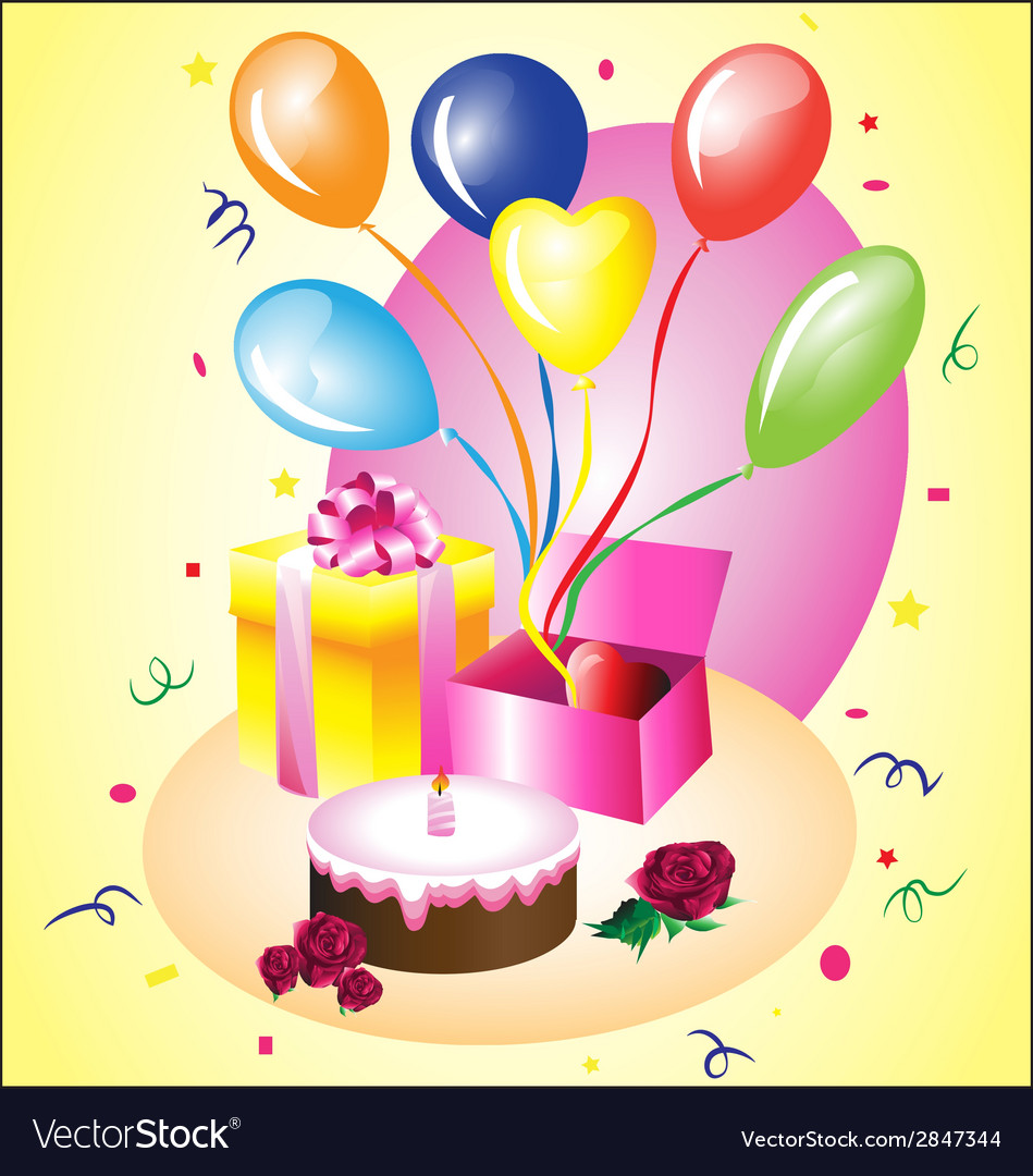 Birthday gift with a cake vector | Price: 1 Credit (USD $1)