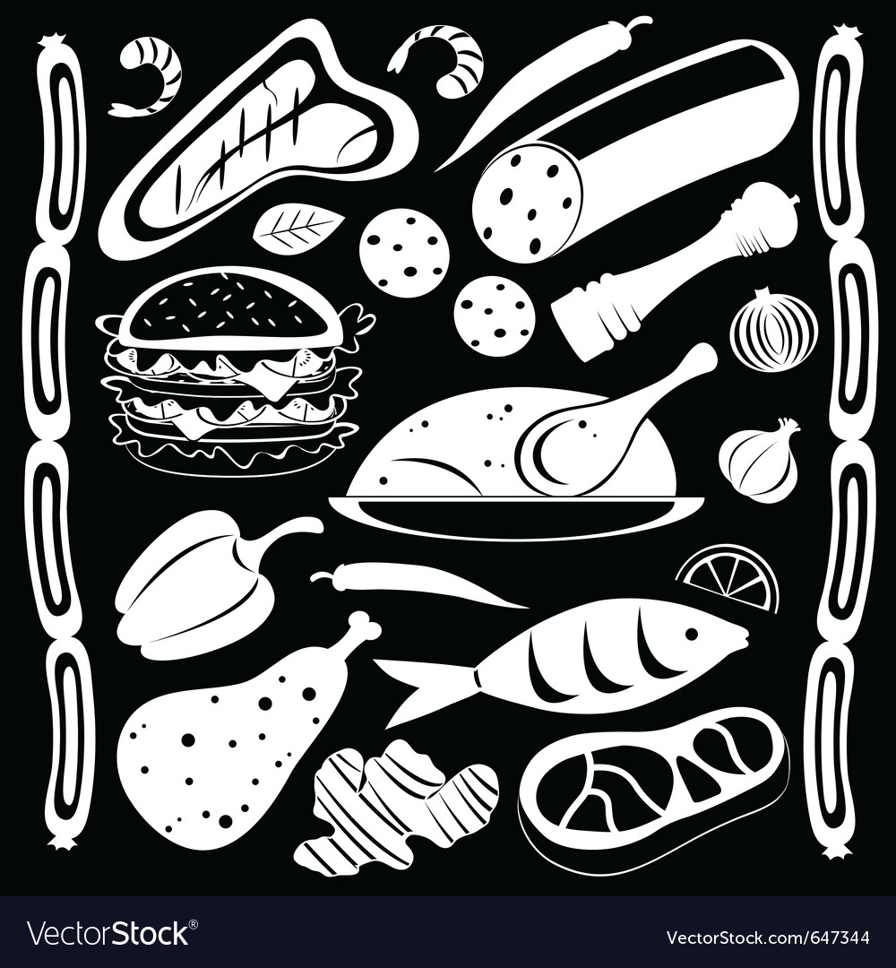 Black and white food pattern vector | Price: 1 Credit (USD $1)