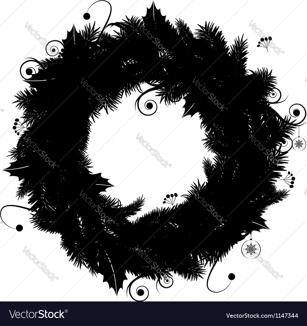 Christmas wreath silhouette for your design vector | Price: 1 Credit (USD $1)