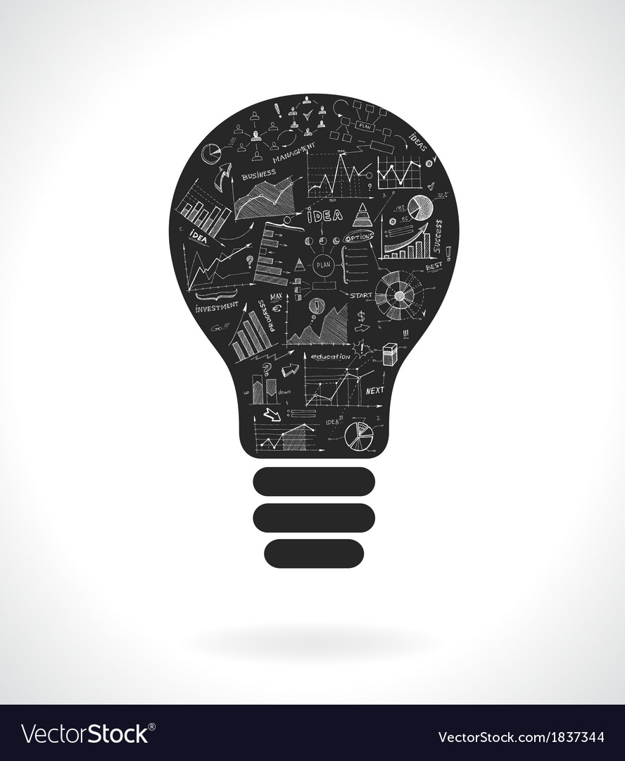 Doodle idea lightbulb icon with infographics vector | Price: 1 Credit (USD $1)