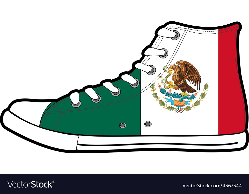 Isolated modern sneakers with mexico flag vector | Price: 1 Credit (USD $1)