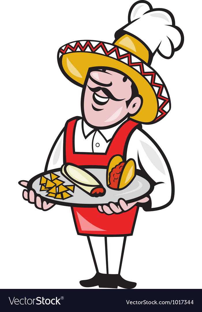 Mexican chef cook plate tacos burrito corn chips vector | Price: 1 Credit (USD $1)